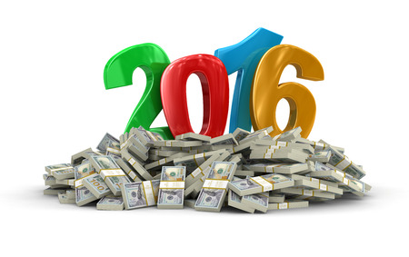 New Year 2016 and Dollars clipping path included Stock Photo