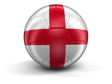 bandiera inglese: Calcio calcio con bandiera inglese. Immagine con tracciato di ritaglio