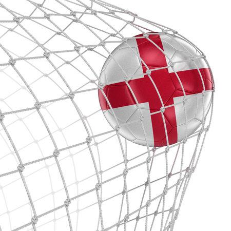 soccerball: English soccerball in net. Image with clipping path