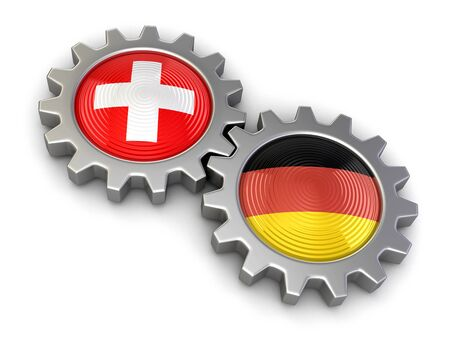 german swiss: Swiss and German flags on a gears clipping path included Stock Photo