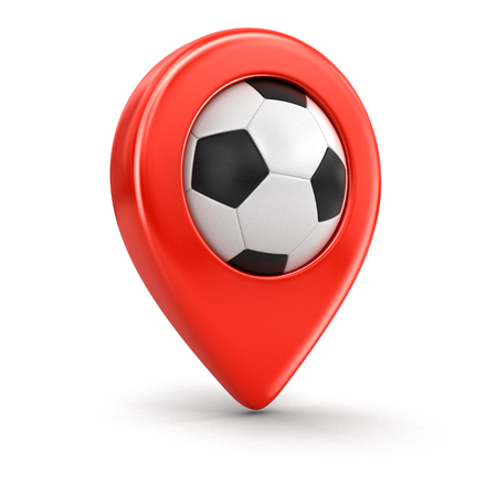 pin entry: Pointer with Soccer football