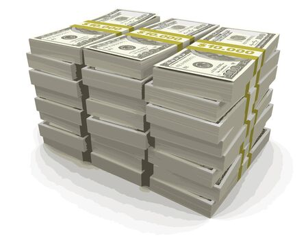 us paper currency: Pile of Dollars Illustration