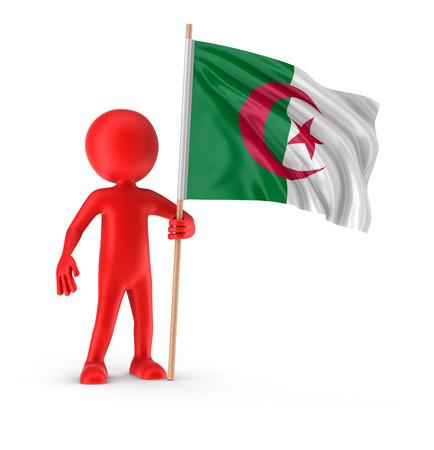 Algierski: Man and Algerian flag clipping path included