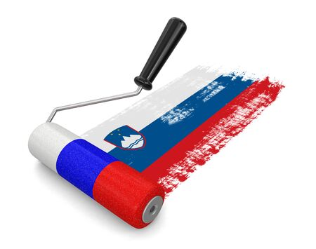 paintroller: Paint roller with Slovenian flag clipping path included
