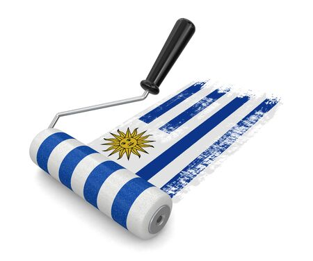 paintroller: Paint roller with Uruguayan flag clipping path included