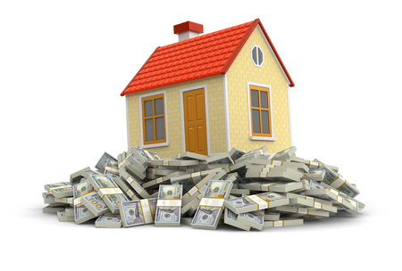 House and Pile of Dollars clipping path included Stock Photo
