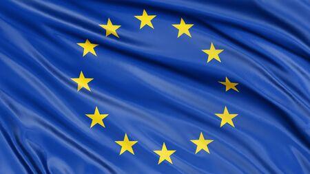 european culture: 3D flag of the European union Stock Photo