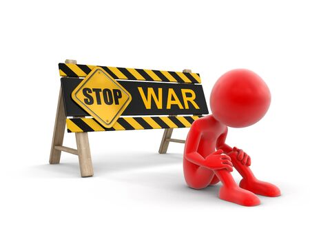 roadblock: Stop war sign and man. Image with clipping path Stock Photo