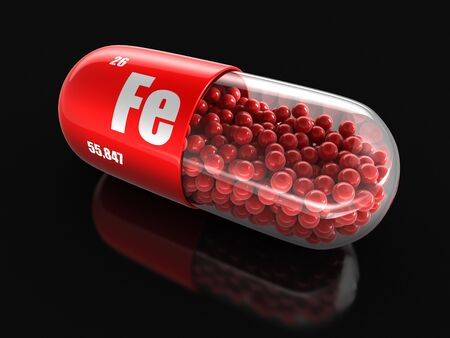 fe: Vitamin capsule Fe clipping path included.