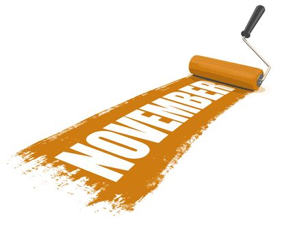 household objects equipment: Paint roller with november Illustration