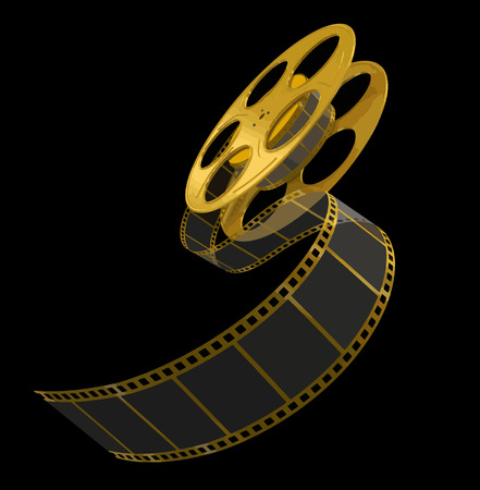 motion picture: Gold Film Strip on black