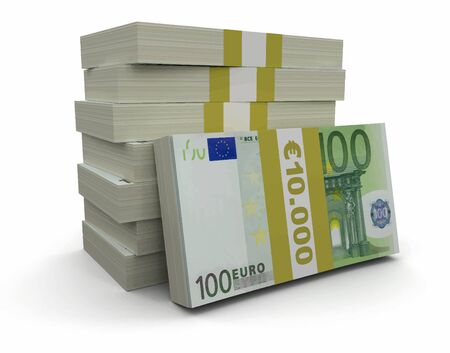 paper currency: Pile of Euro clipping path included