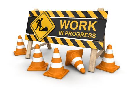 working�: El trabajo en se�al de progreso.