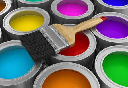 Paint cans with brush