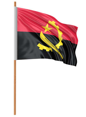 fabric surface: 3D Angola flag with fabric surface texture. White background. Stock Photo