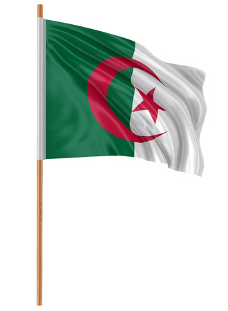 Algierski: 3D Algerian flag with fabric surface texture. White background. Zdjęcie Seryjne