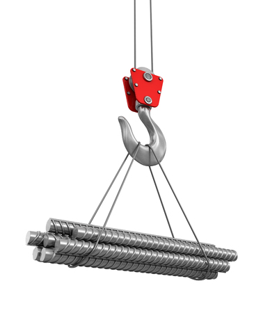 armature: Building armature on crane hook. Image with clipping path