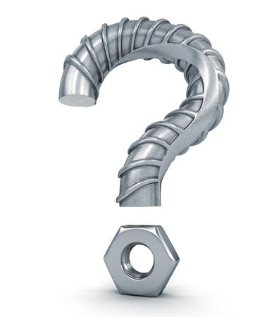 signo de interrogación: Signo de interrogación de la armadura del edificio. Foto de archivo
