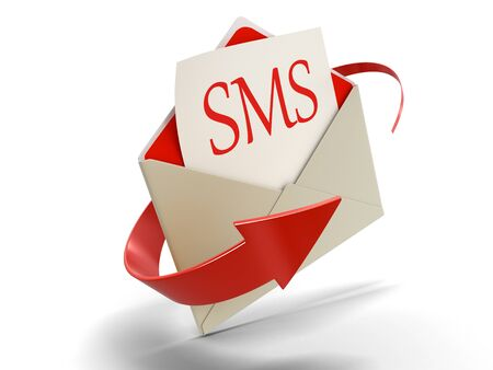 short message service: Letter SMS clipping path included Stock Photo