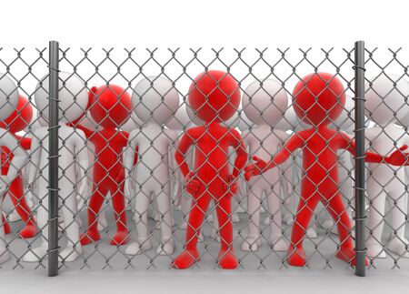Chain link fence and people.   Stock Photo