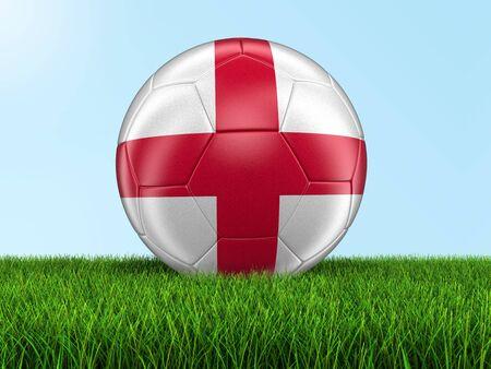 bandera inglesa: F�tbol de f�tbol con la bandera de Ingl�s en la hierba. Foto de archivo