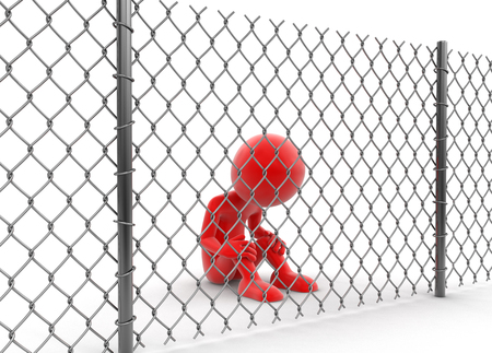 frustration: Chainlink fence and man.  Stock Photo