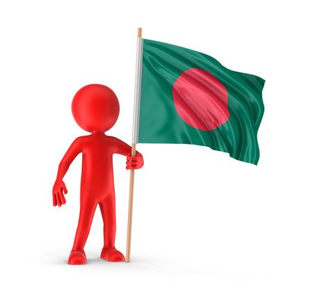 national flag bangladesh: Man and Bangladesh flag  Stock Photo