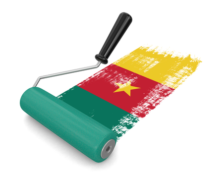 household objects equipment: Paint roller with flag of Cameroon clipping path included