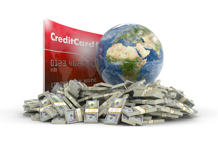 making earth: Credit Card with Globe and dollars   Stock Photo