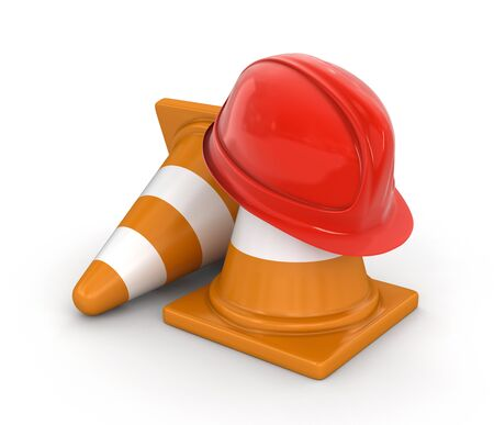 traffic   cones: Helmet and traffic cones.