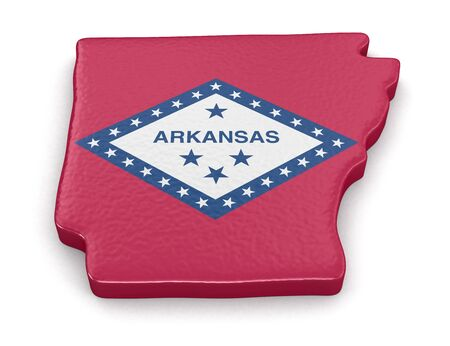 find us: Map of Arkansas state with flag.   Stock Photo