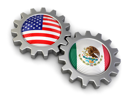 USA and Mexican flags on a gears clipping path included Reklamní fotografie