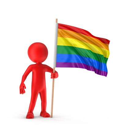 gay pride: Man and Rainbow Gay Pride Flag. Image with clipping path Stock Photo