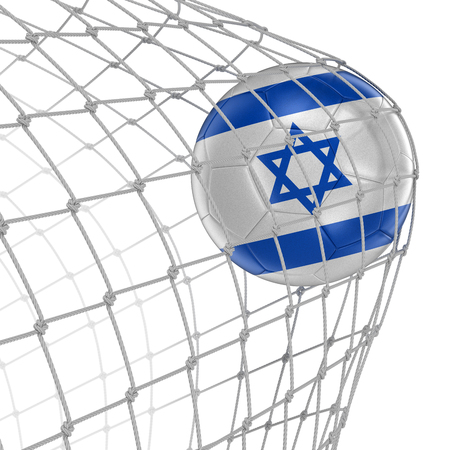soccerball: Israeli soccerball in net. Image with clipping path