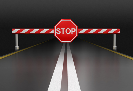 Closed road with stop sign clipping path included