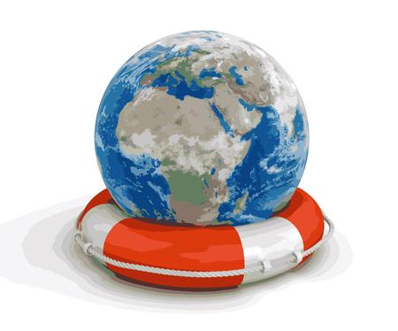 lifebuoy: Globe and Lifebuoy Illustration
