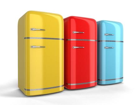Kühlschrank Farbig Retro : Blauer retro kühlschrank auf weißem hintergrund lizenzfreie fotos