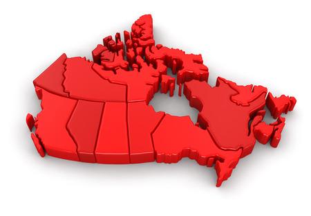 Kaart van Canada. Afbeelding met uitknippad. Stockfoto