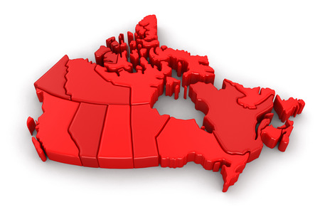 Map of Canada. Image with clipping path.