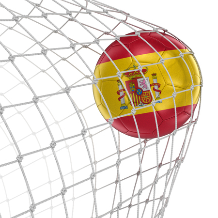 soccerball: Spanish soccerball in net. Image with clipping path
