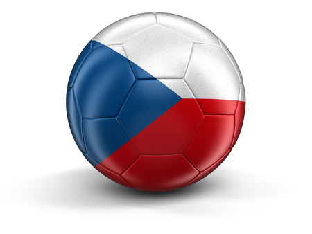 czech culture: Soccer football with Czech flag. Image with clipping path Stock Photo