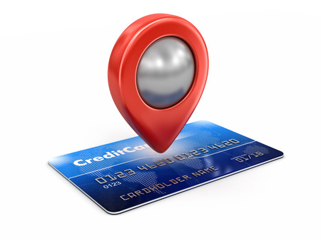 pin entry: Credit Card and Pointer clipping path included Stock Photo