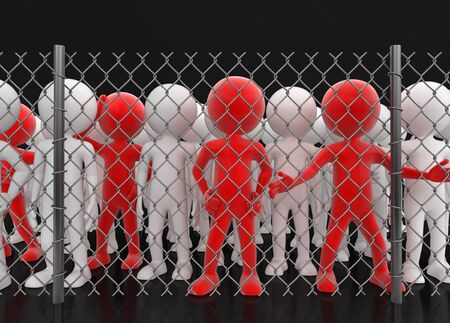 Chainlink fence and man. Image with clipping path