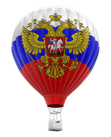 russian flag: Hot Air Balloon with Russian Flag clipping path included Stock Photo