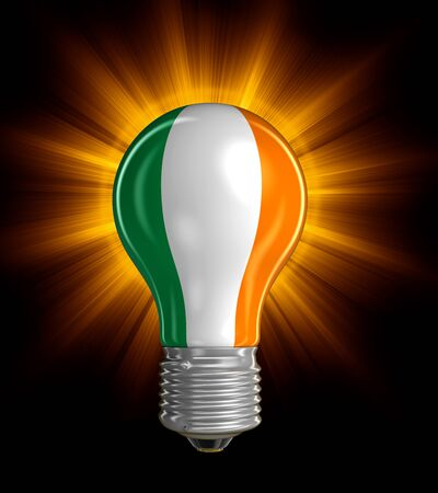 irish flag: Light bulb with Irish flag clipping path included