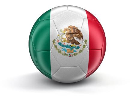 bandera de mexico: F�tbol de f�tbol con la bandera mexicana. Imagen con trazado de recorte Foto de archivo