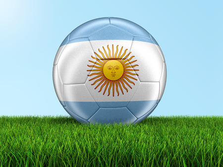 argentinian flag: Soccer football with Argentinian flag on grass. Image with clipping path