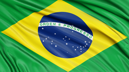 fabric surface: 3D Brazilian flag with fabric surface texture.