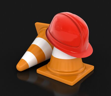 traffic   cones: Helmet and traffic cones. Image with clipping path
