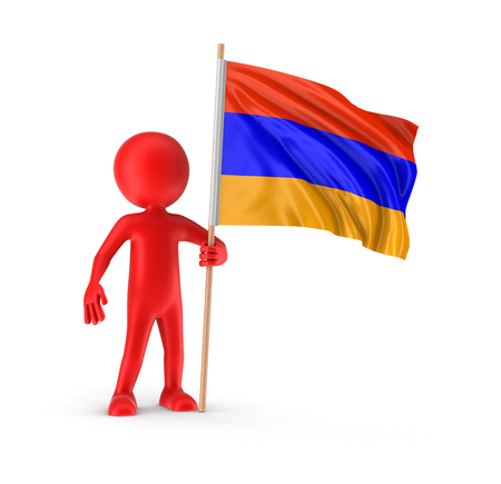armenian: Man and Armenian flag clipping path included Stock Photo